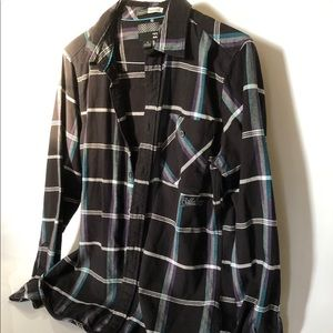 Billabong Men's Black Plaid Shirt Size M